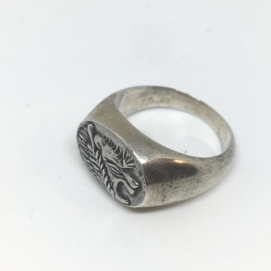 Anello vintage chevalier ovale sigillo con testa di leone da uomo in argento 925