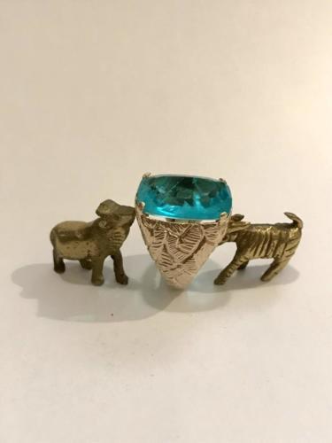 anello in argento 925 dorato con pietra